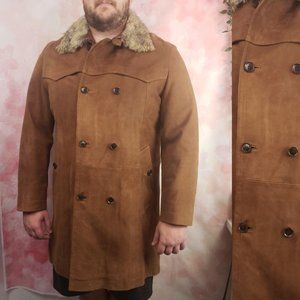 Hugo Boss Vintage Leather Double Breasted Fur Coat